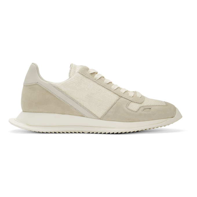 Rick Owens White Lace-Up Runner Sneakers
