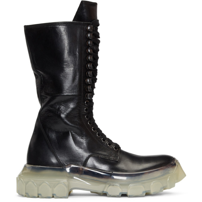 Rick Owens Black Clear Sole Tractor Boots