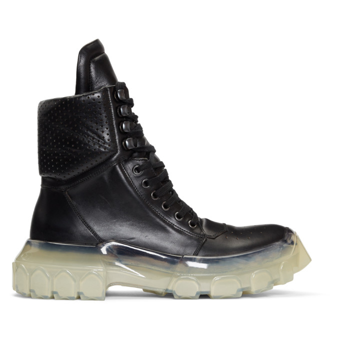 Rick Owens Black Clear Sole Tractor Dunk Boots