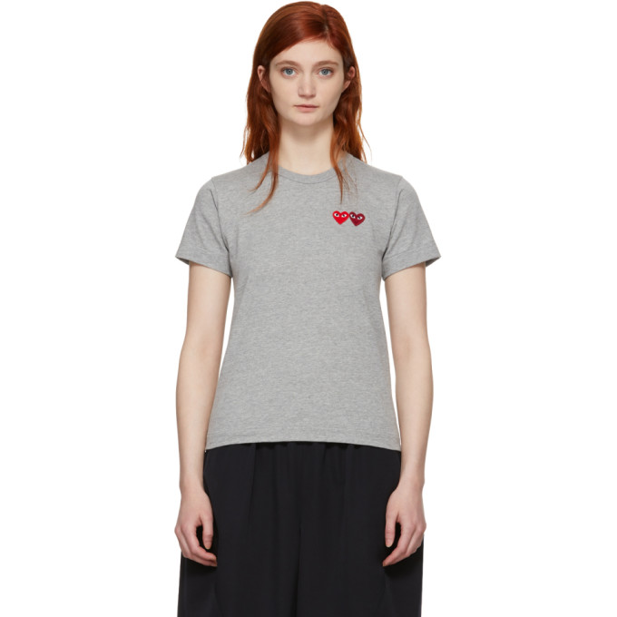 Comme des Garçons Play Grey & Red Double Heart T-Shirt