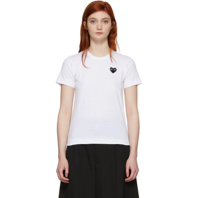 Comme des Garçons Play White & Black Heart Patch T-Shirt