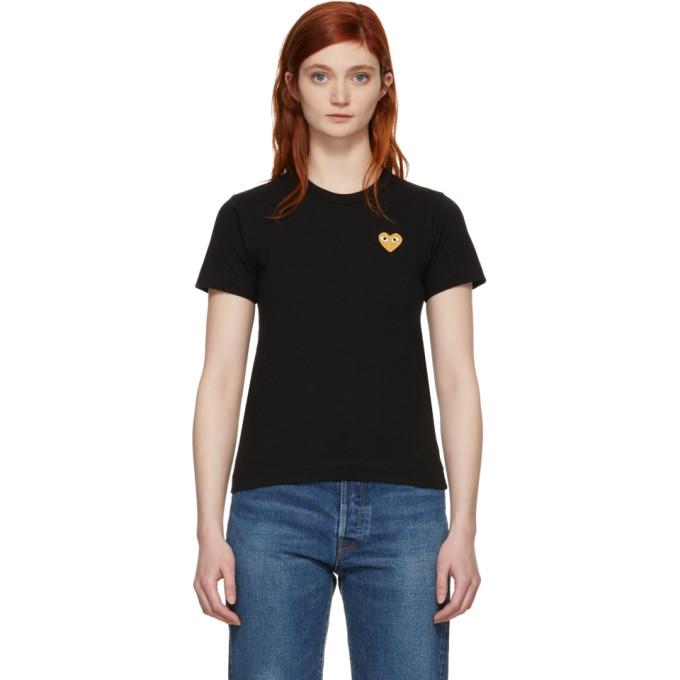 Image of Comme des Garçons Play Black & Gold Heart Patch T-Shirt