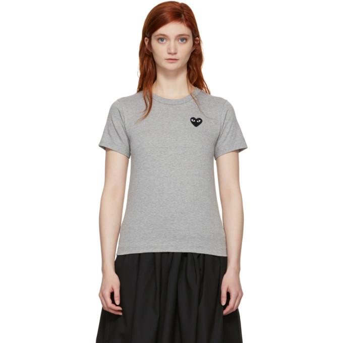 Comme des Garçons Play Grey & Black Heart T-Shirt