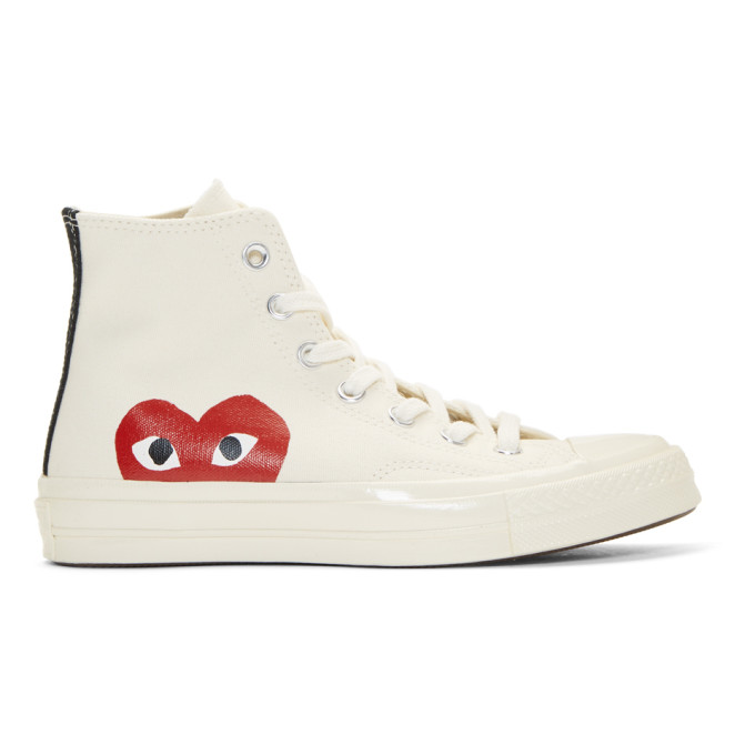 3c4b0f8705d3 COMME DES GARCONS PLAY BEIGE CONVERSE EDITION CHUCK TAYLOR ALL-STAR 70  HIGH-TOP SNEAKERS