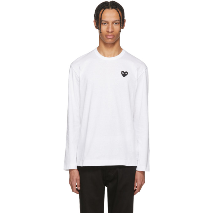 Comme des Garçons Play White Long Sleeve Heart Patch T-Shirt