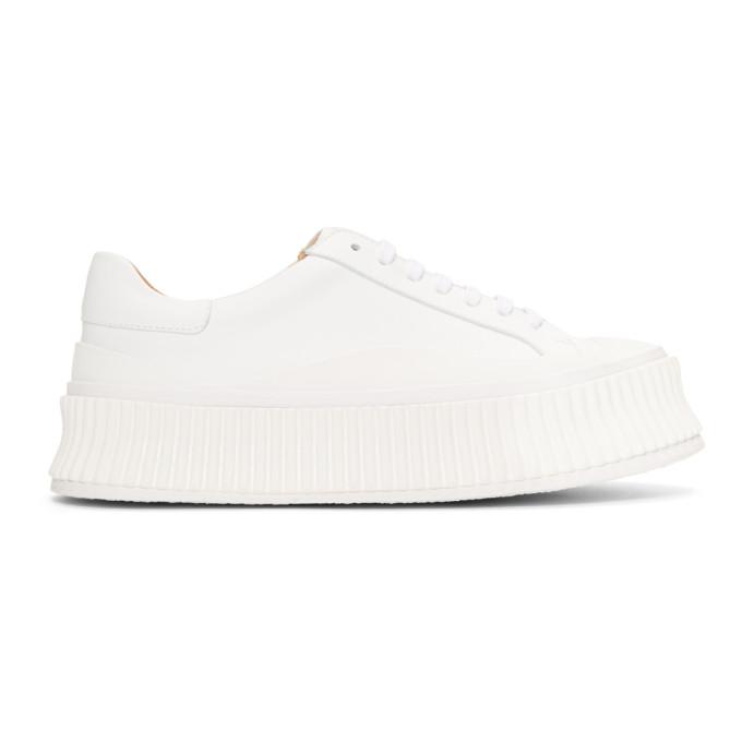 Jil Sander White Chunky Platform Sneakers
