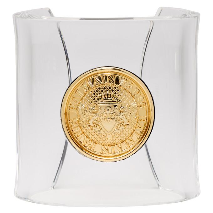 Balmain Transparent Gold Coin Cuff Bracelet