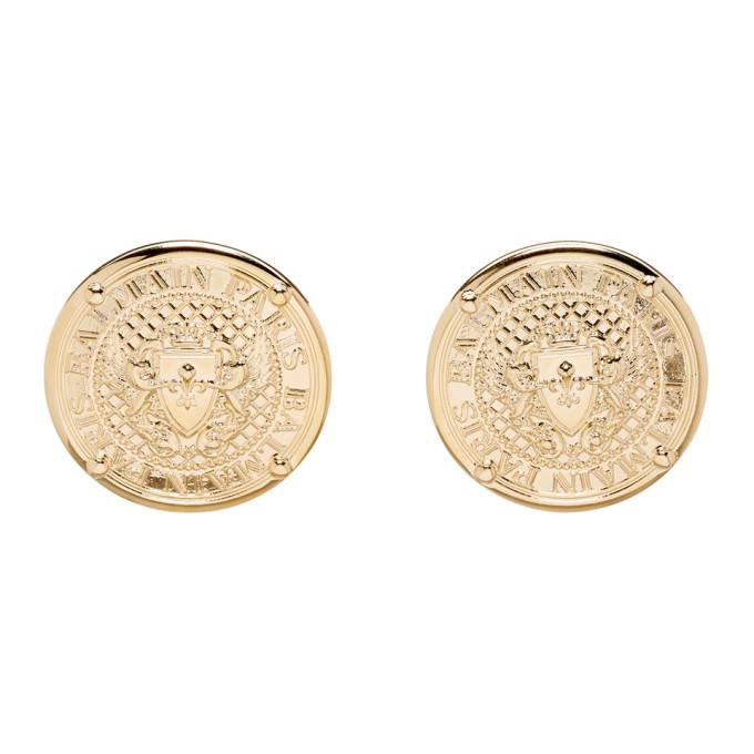 Balmain Gold Coin Stud Earrings