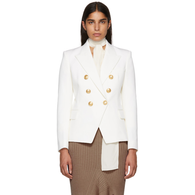99c16a8055a8f Balmain White Wool Six Button Blazer