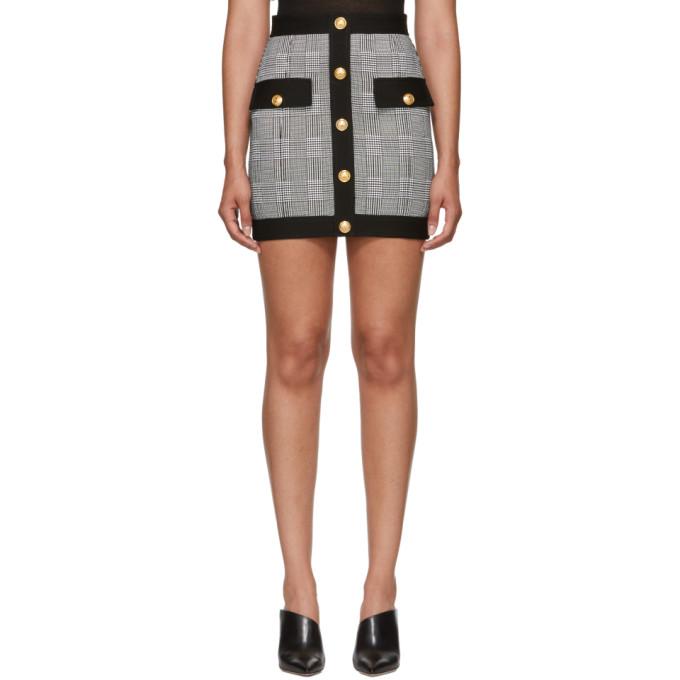 fff90fa30 Balmain Black and White Houndstooth Miniskirt