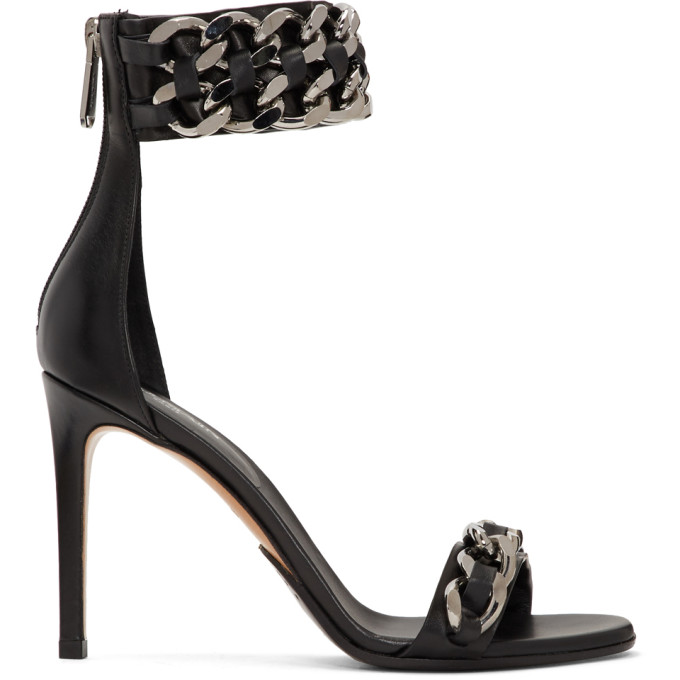 Balmain Black Duo Double Chain Heeled Sandals
