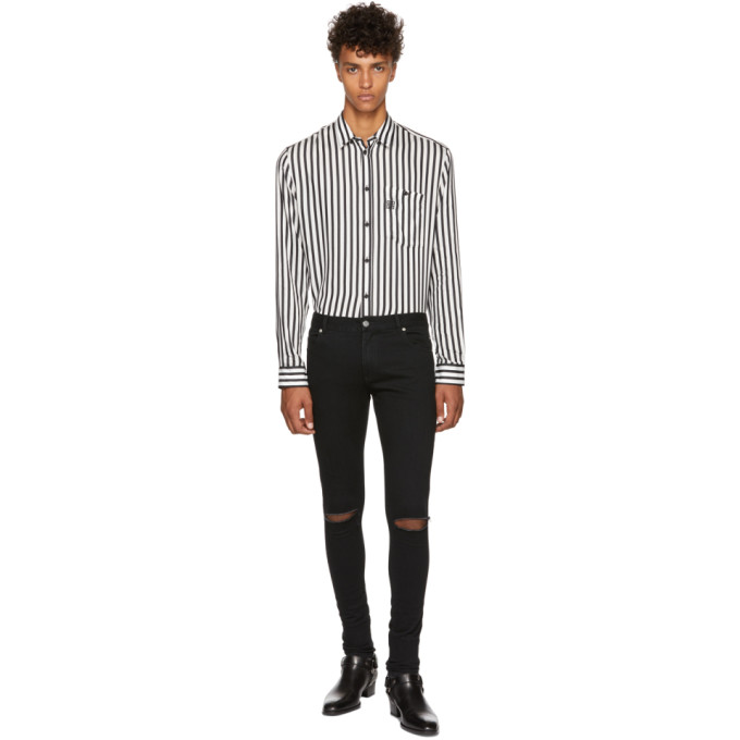 Balmain Black Destroyed Skinny Jeans
