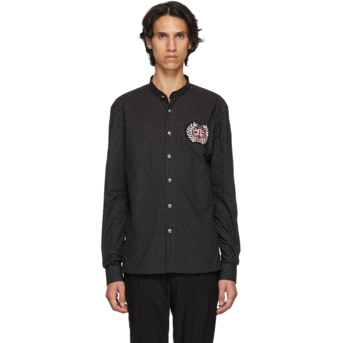 Balmain ブラック ポルカ ドット バッジ シャツ