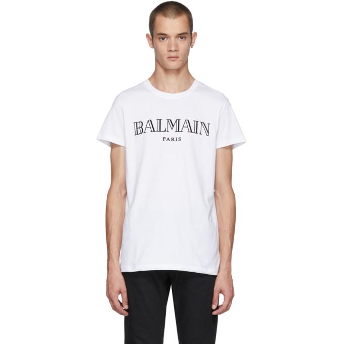 Balmain ホワイト ロゴ T シャツ
