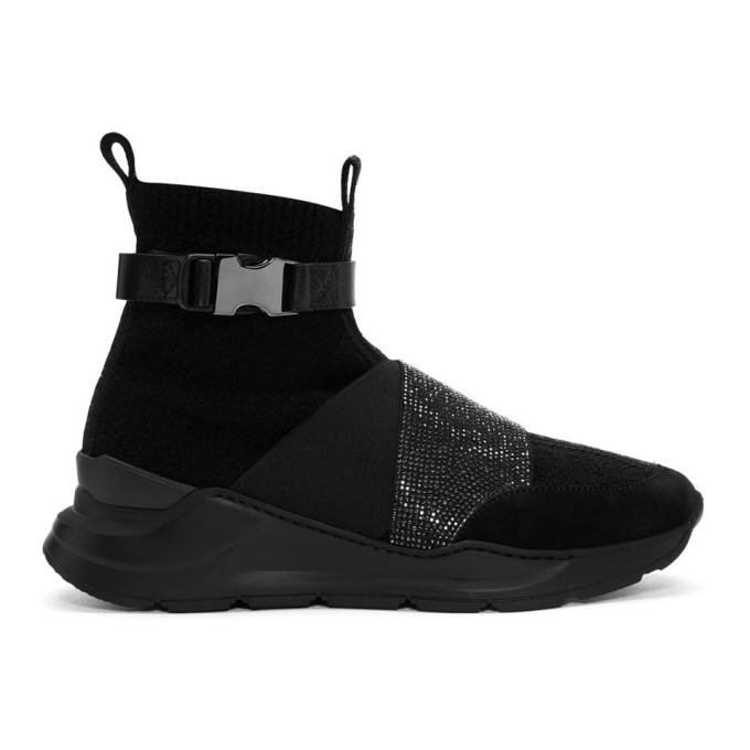 Balmain Black Faust Glitter High-Top Sneakers