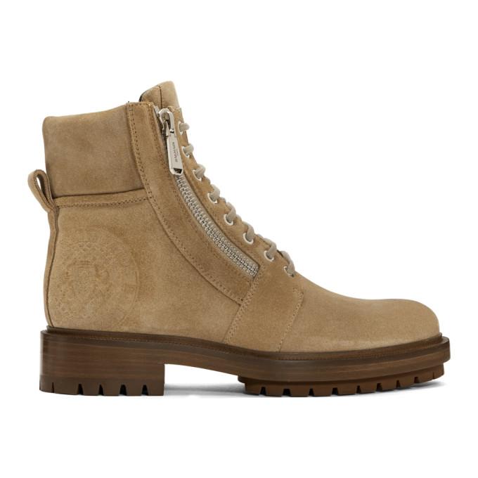 Balmain Tan Suede Ranger Army Boots