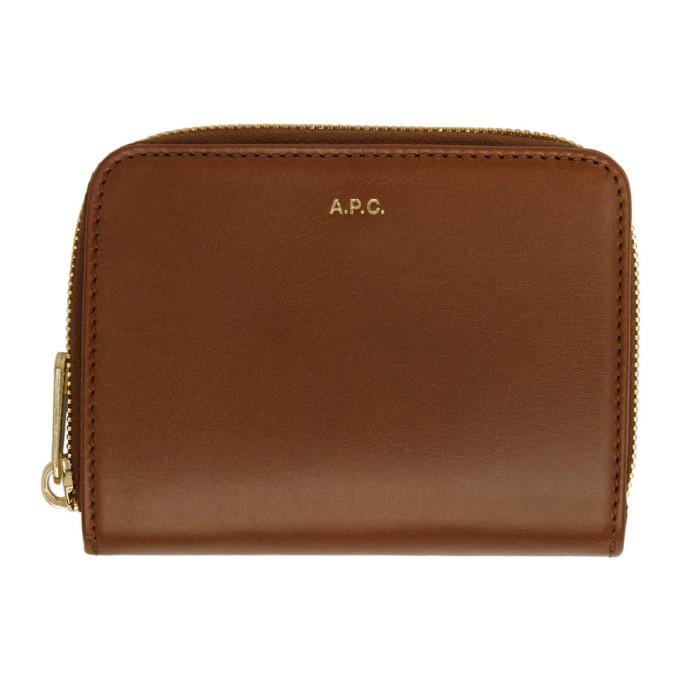 A.P.C. Brown Compact Emmanuelle Wallet, Cad Noisett