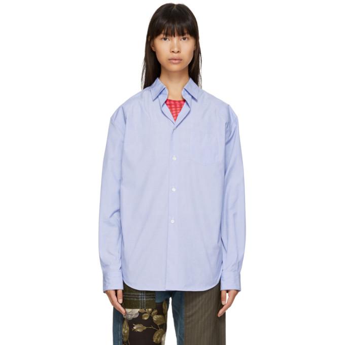 Junya Watanabe Chemise bleue Chambray Poly Cotton