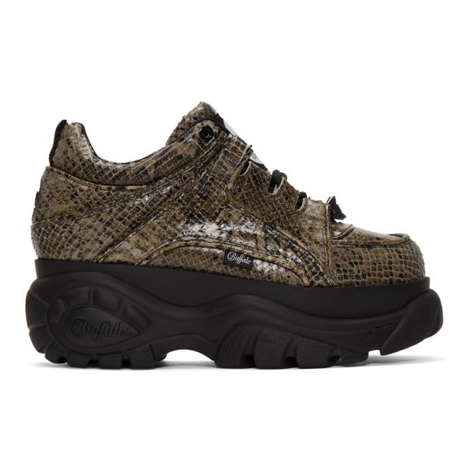 Image of Junya Watanabe Beige Buffalo Edition Python Platform Sneakers