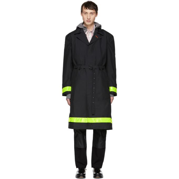 JUNYA WATANABE Contrast Stripe Trench Coat in Black
