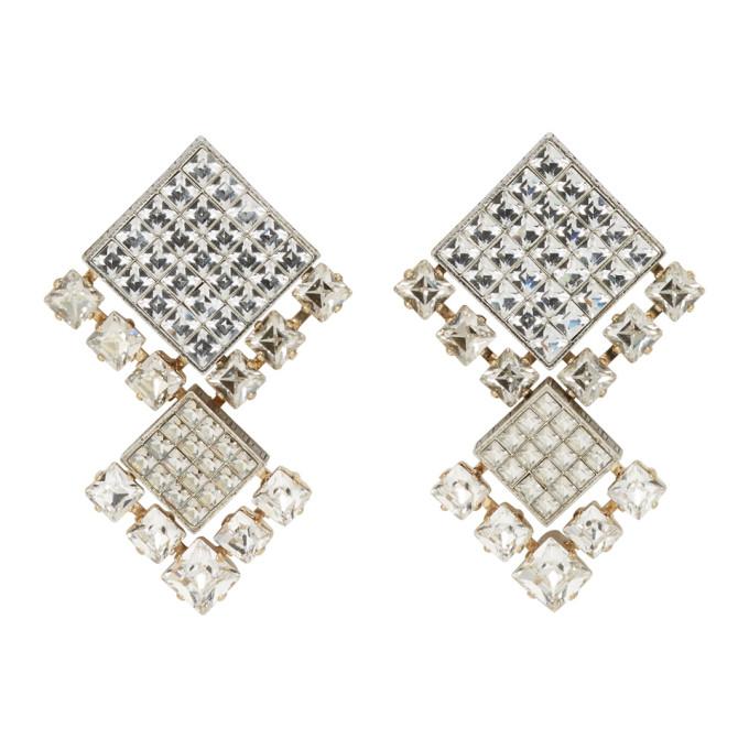 Lanvin Gold & Silver Crystal Clip-On Earrings