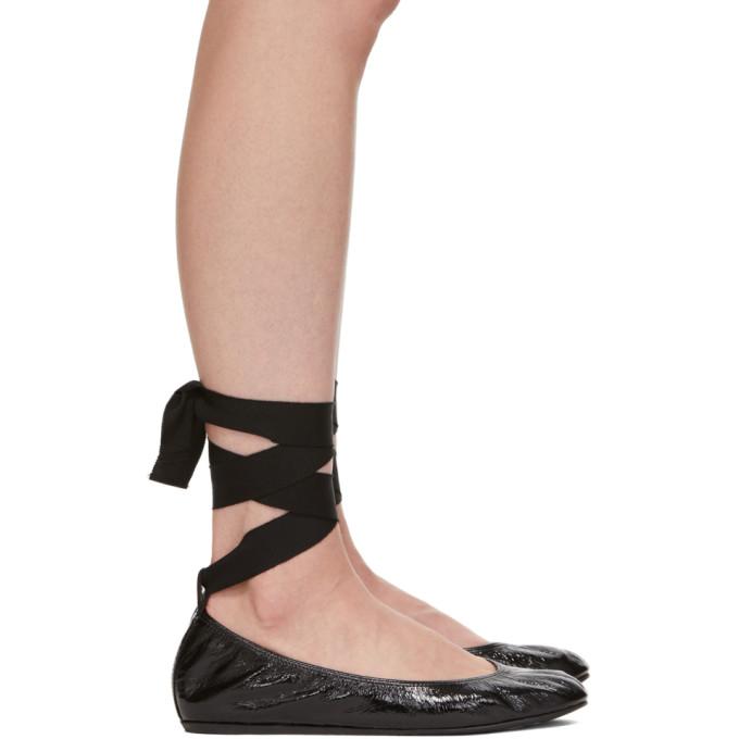 Lanvin Black Ankle Strap Ballerina Flats