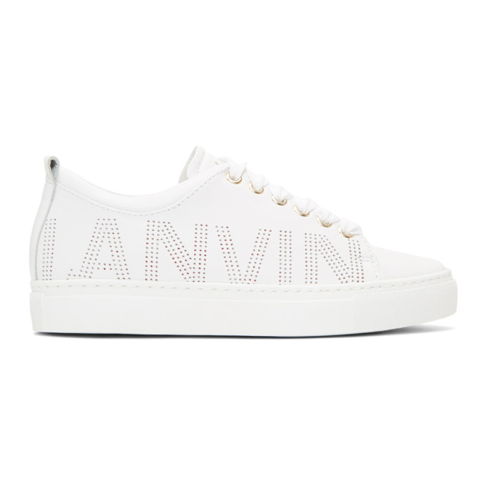Lanvin White Nappa Perforated Logo Sneakers