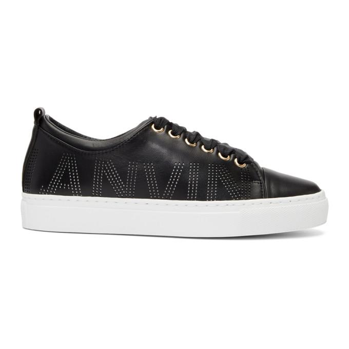 Lanvin Black Nappa Perforated Logo Sneakers