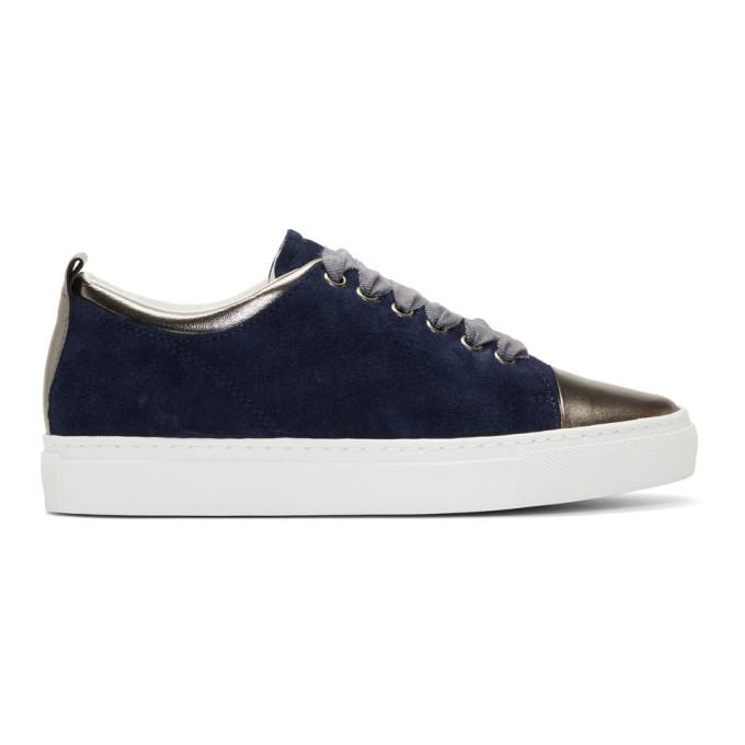 Lanvin Navy Suede Sneakers