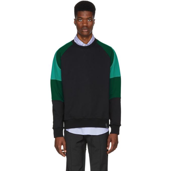 Lanvin ブラック & グリーン カラーブロック スウェットシャツ