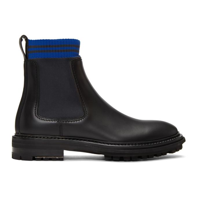 Lanvin Black Knit Sock Chelsea Boots