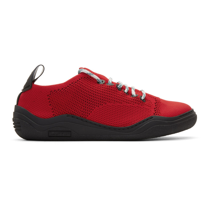 Lanvin Red Low-Top Knit Diving Sneakers