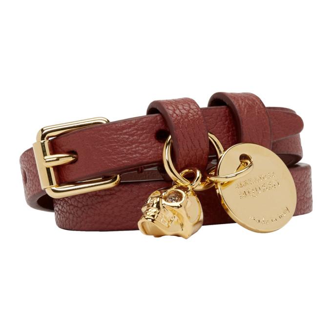 Alexander McQueen Red & Gold Double Wrap Bracelet