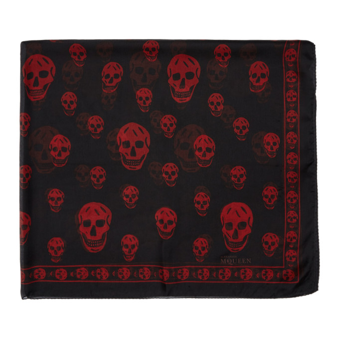 Alexander McQueen Black and Red Silk Skull Scarf thumbnail