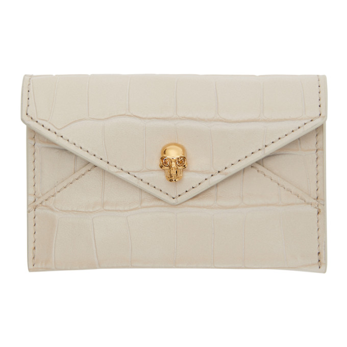 Alexander McQueen White Croc Skull Envelope Card Holder