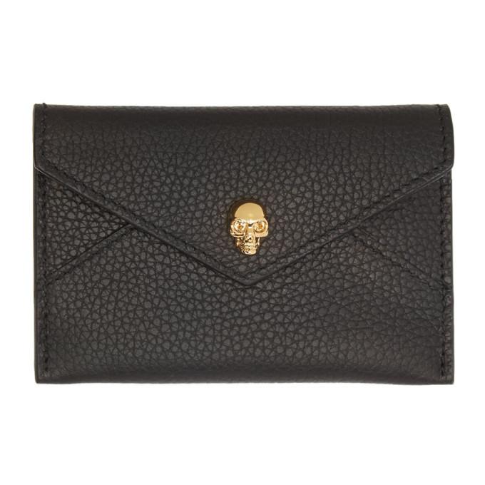 Alexander McQueen Black and Gold Envelope Card Holder thumbnail