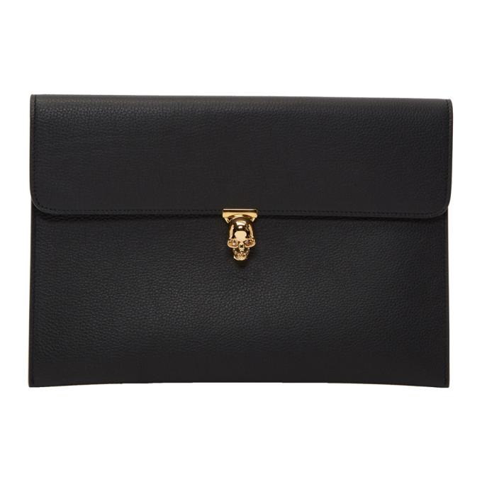 Alexander McQueen Black Skull Envelope Clutch