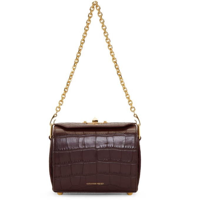 Alexander McQueen Burgundy Croc 'Box Bag 19' Bag