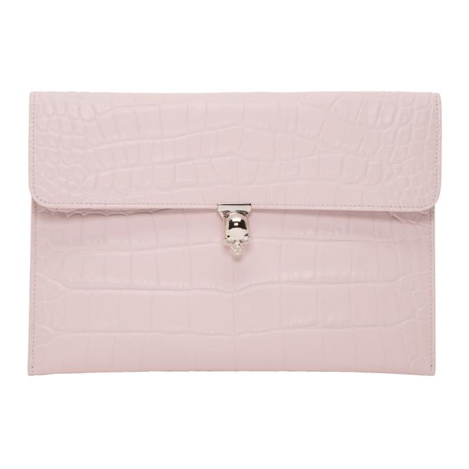 Alexander McQueen Pink Croc Skull Envelope Clutch