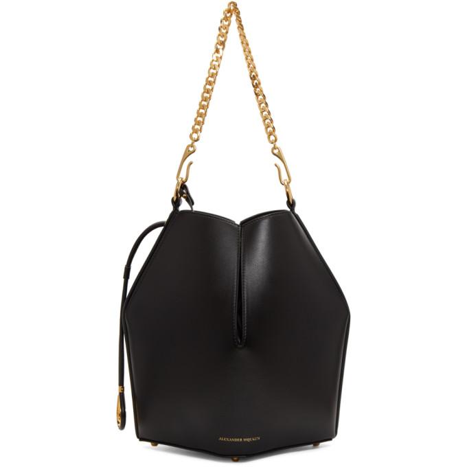 Alexander McQueen Black Chain Bucket Bag