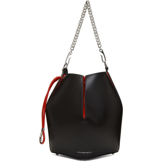 ALEXANDER MCQUEEN BLACK AND RED CHAIN BUCKET BAG