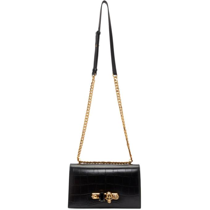 Alexander McQueen Black Croc-Embossed Knuckle Chain Bag