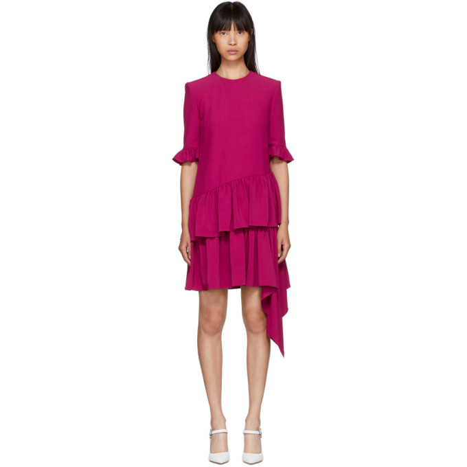 Alexander McQueen Pink Asymmetric Drape Dress