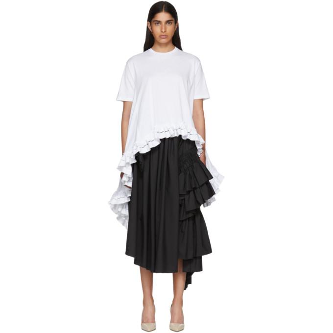 Alexander McQueen White Asymmetric Ruffles T-Shirt