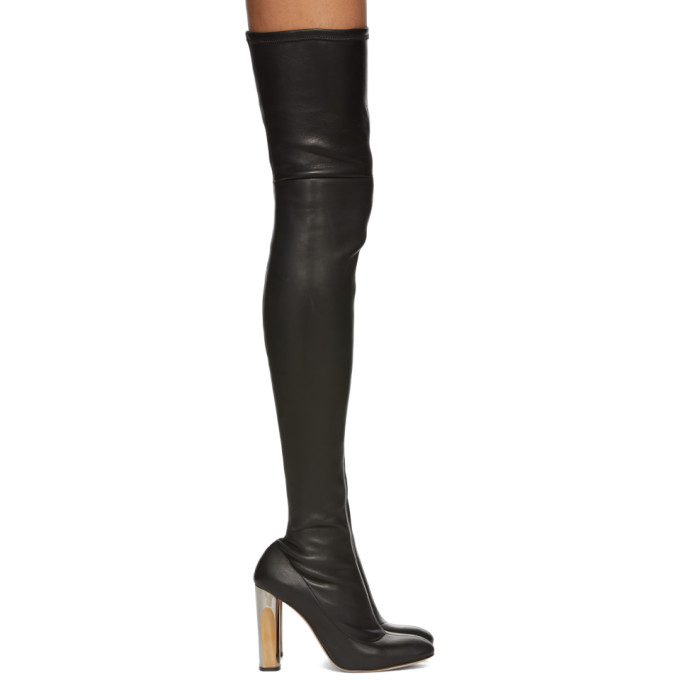 Alexander McQueen Black Stretch Leather Over-the-Knee Boots
