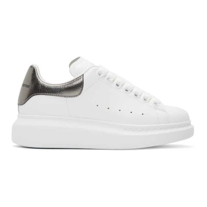 Alexander McQueen White & Grey Metallic Oversized Sneakers