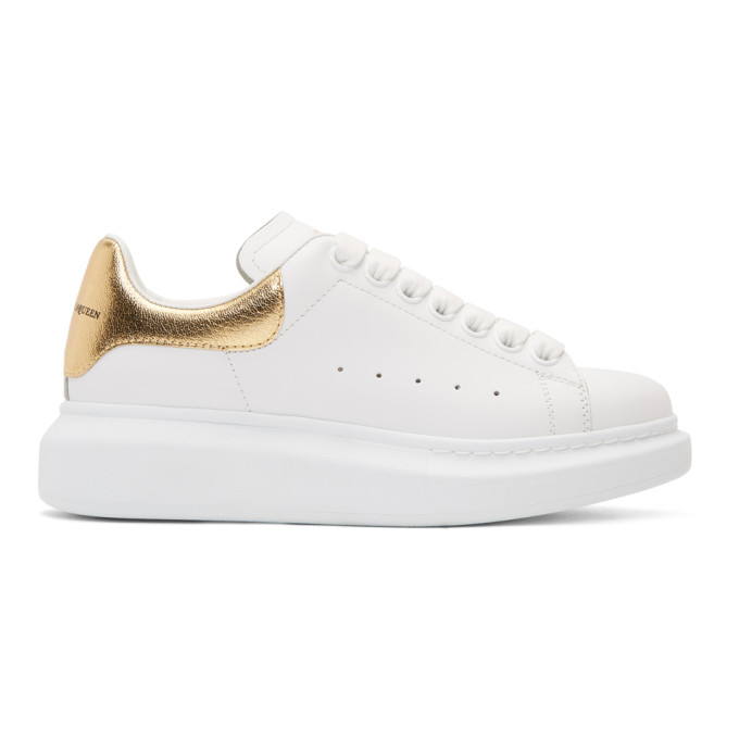 Alexander McQueen White & Gold Metallic Oversized Sneakers