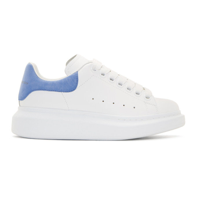 Alexander McQueen White & Blue Oversized Sneakers