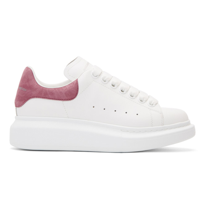 Alexander McQueen White & Pink Suede Oversized Sneakers