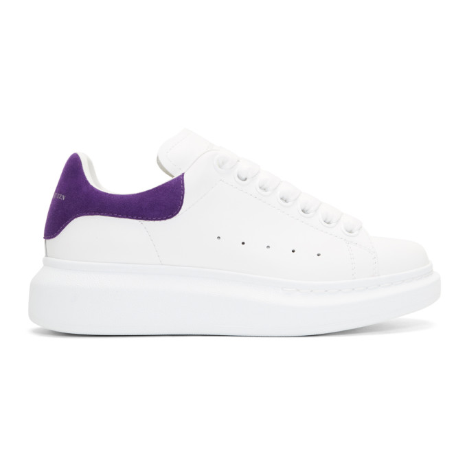 Alexander McQueen White & Purple Oversized Sneakers